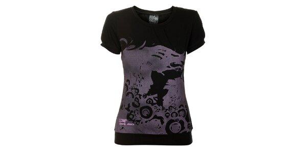 Dámske čierne tričko Loap s šedou potlačou