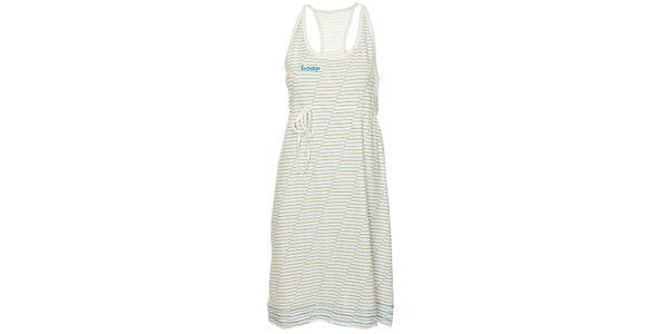 Dámske biele plážové šaty Loap s farebnými prúžkami