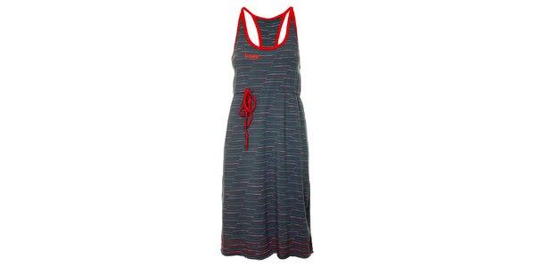 Dámske tmavo šedé plážové šaty Loap s farebnými prúžkami