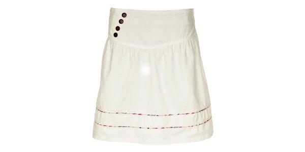 Dámska biela sukňa Loap s farebnými prúžkami