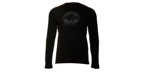 Pánske čierne tričko Loap s šedou potlačou
