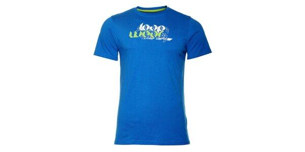 Pánske žiarivo modré tričko Loap s potlačou