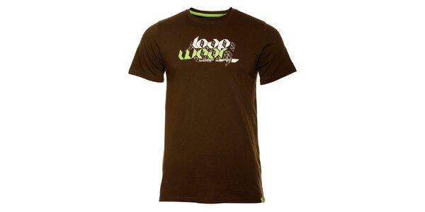 Pánske tmavo hnedé tričko Loap s potlačou