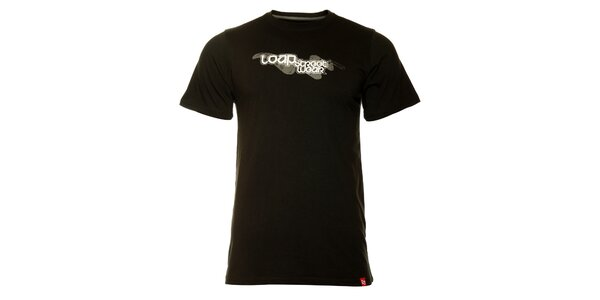 Pánske čierne tričko Loap s potlačou