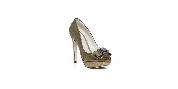 Topánky na vysokom opätku Bourne v zlatej farbe