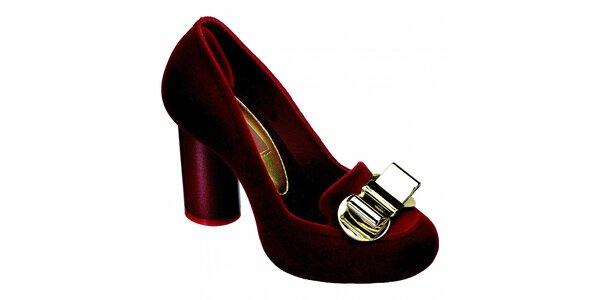 Dámske červené somišové lodičky Melissa s kovovou sponou