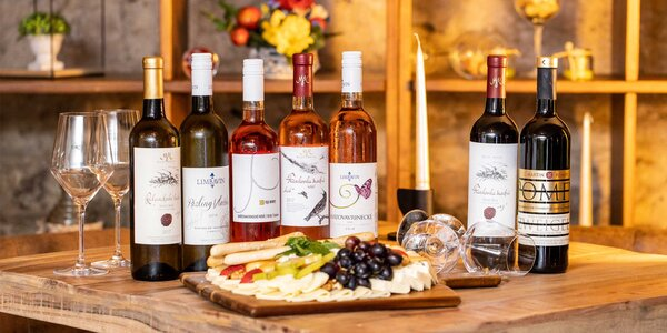 Ochutnávka vín a 550 g syrový tanier s pochutinami