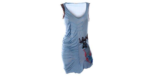 Dámske modré šaty bez rukávov s výšivkou Angels Never Die