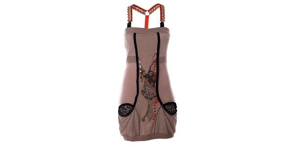 Dámske béžové šaty s potlačou a trakmi Angels Never Die