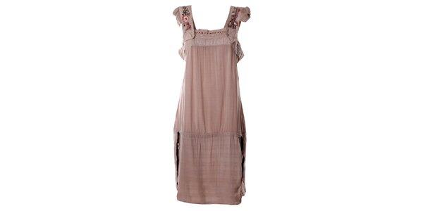 Dámske svetlo ružové šaty s aplikáciou Angels Never Die