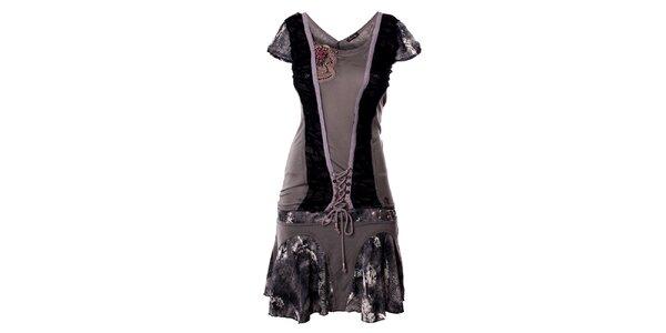 Dámske šedé šaty so šnurovaním Angels Never Die