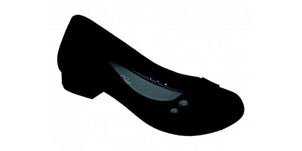 Dámske čierne baleríny Melissa so semišovou úpravou