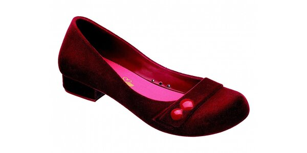 Dámske červené baleríny Melissa so semišovou úpravou
