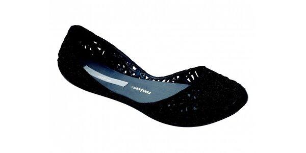 Dámske čierne perforované baleríny Melissa so semišovou úpravou