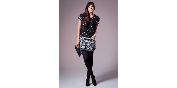 Dámske čierno-šedé šaty Ada Gatti s potlačou