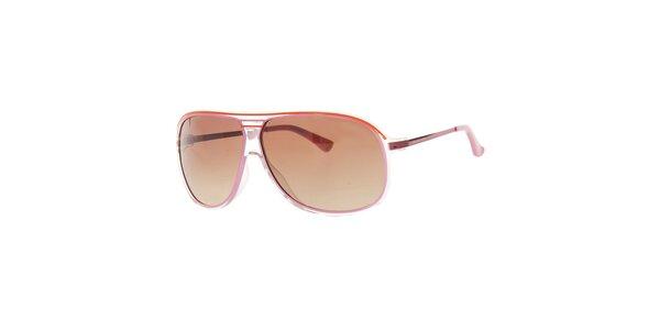 Dámske červenoružové slnečné okuliare s transparentnými rámčekmi Michael Kors
