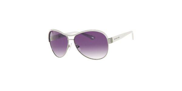 Dámske fialové slnečné okuliare s bielymi stranicami Michael Kors