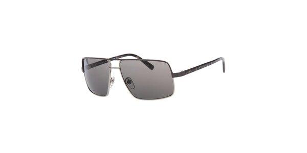 Pánske hranaté strieborné slnečné okuliare Michael Kors