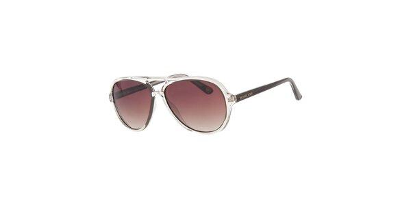 Pánske transparentné slnečné okuliare s hnedými sklami Michael Kors