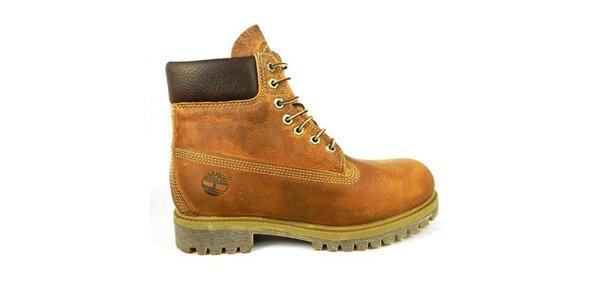 Pánske hnedé vysoké topánky Timberland