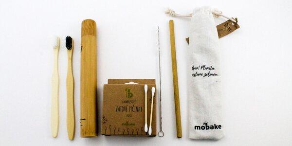 Zero Waste balíček MOBAKE: kefka, slamky, vatové tyčinky a vrecko