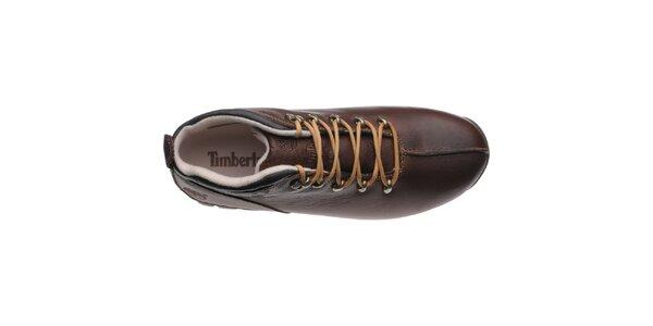 Pánske vysoké tmavo hnedé topánky Timberland