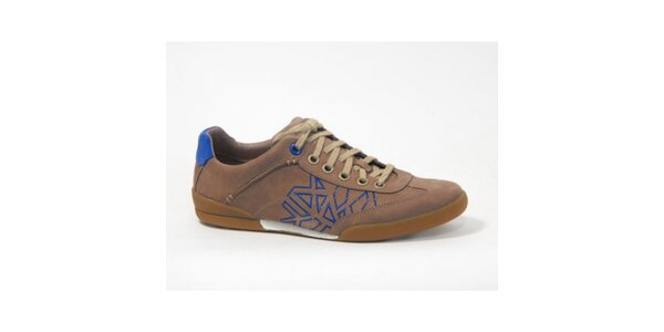Pánske svetlo hnedé topánky s modrými detailmi Timberland