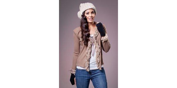 Dámsky béžový sveter Ada Gatti s čipkovým volánikom