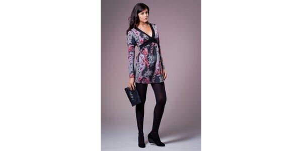 Dámske čierne šaty Ada Gatti s pestrofarebnou potlačou