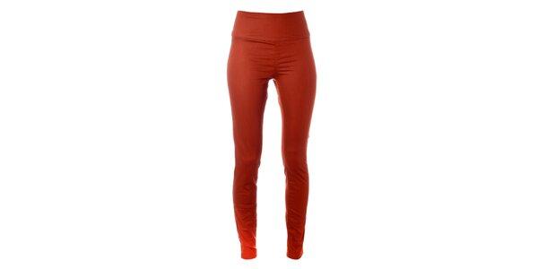 Dámske tmavo oranžové elastické nohavice Pieces s vysokým pásom