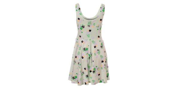 Dámske zelenošedé šaty Pieces s kvetinovým vzorom