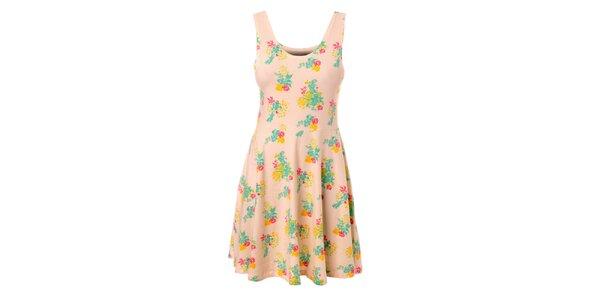 Dámske krémové šaty Pieces s kvetinovým vzorom