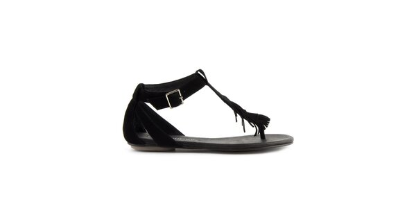Dámske čierne semišové sandále Lise Lindvig s indiánskými strapcami