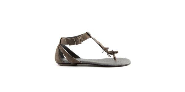 Dámske šedohnedé semišové sandále Lise Lindvig s indiánskými strapcami