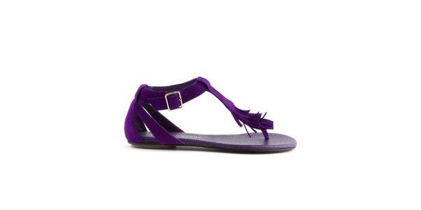 Dámske purpurové semišové sandále Lise Lindvig s indiánskými strapcami