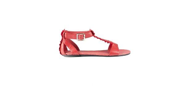 Dámske červené sandále Lise Lindvig s volánmi