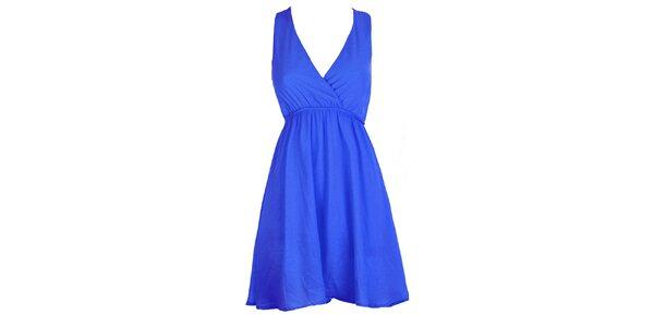 Dámske kráľovsky modré šaty s čipkovaným chrbtom Mlle Agathe
