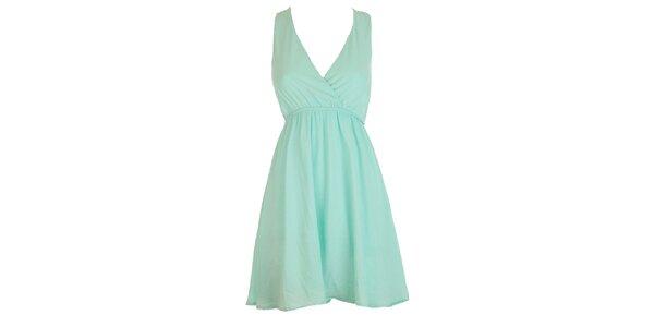 Dámske svetlo tyrkysové šaty s čipkovaným chrbtom Mlle Agathe