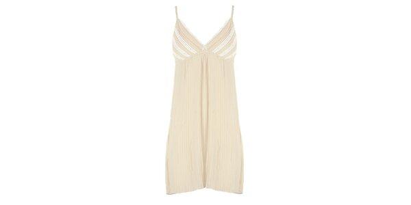 Dámske béžové plisované šaty s bielou čipkou Mlle Agathe