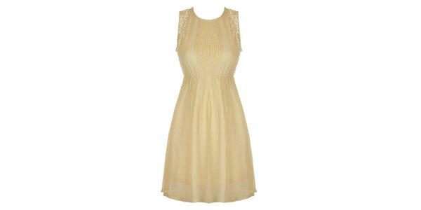 Dámske béžové šaty s čipkou a plisé Mlle Agathe