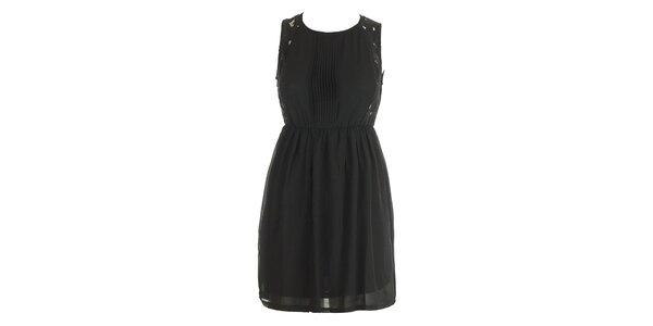 Dámske čierne šaty s čipkou a plisé Mlle Agathe