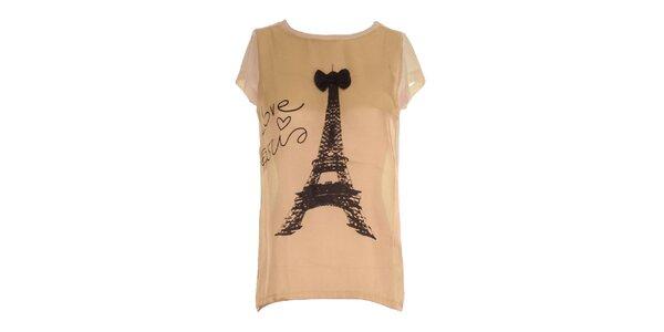 Dámske marhuľkové tričko s potlačou Eiffelovky Mlle Agathe