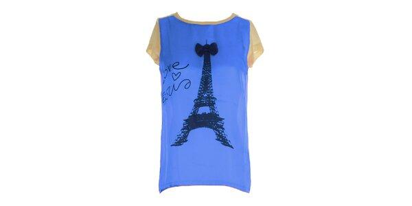 Dámske modro-béžové tričko s potlačou Eiffelovky Mlle Agathe