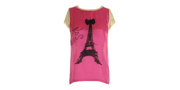 Dámske ružovo-béžové tričko s potlačou Eiffelovky Mlle Agathe