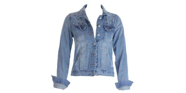 Dámska modrá džínsová bunda s cvočkami Mlle Agathe