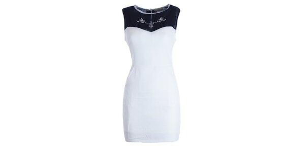 Dámske bielo-čierne šaty s výšivkou Mlle Agathe