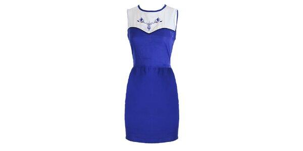 Dámske modro-biele šaty s výšivkou Mlle Agathe