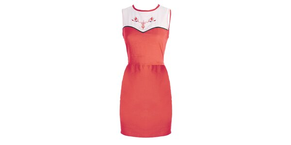 Dámske korálovo-biele šaty s výšivkou Mlle Agathe