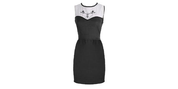 Dámske čierno-biele šaty s výšivkou Mlle Agathe