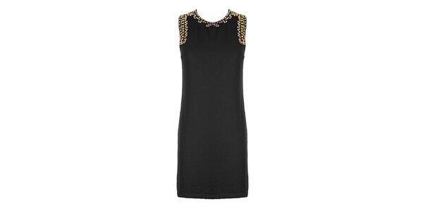 Dámske čierne púzdrové šaty so štrasovými kamienkami Mlle Agathe